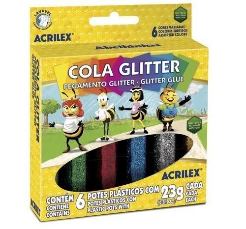 Cola Gliter 23g SORTIDA - Acrilex (6 Unidades)