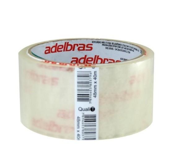 Fita para Embalagem Transparente - 48 x 40 - Adelbras (4 Unidades)