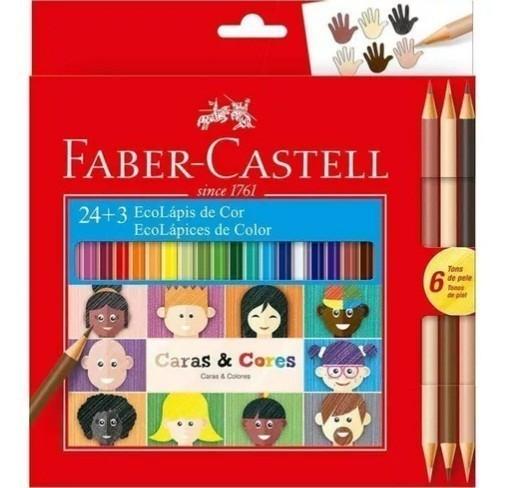 Lápis de Cor Ecolapis Caras e Cores 24 Cores +3 PT/12 - Faber-Castell