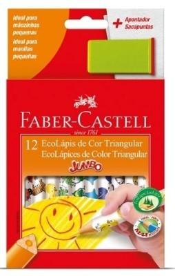 Lápis de Cor Jumbão Ecolapis 12 Cores Decorado (6 Unidades) - Faber-Castell