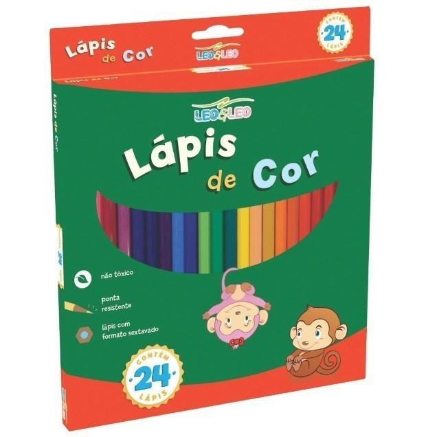 Lapis de Cor Sextavado 24 cores - Leo & Leo