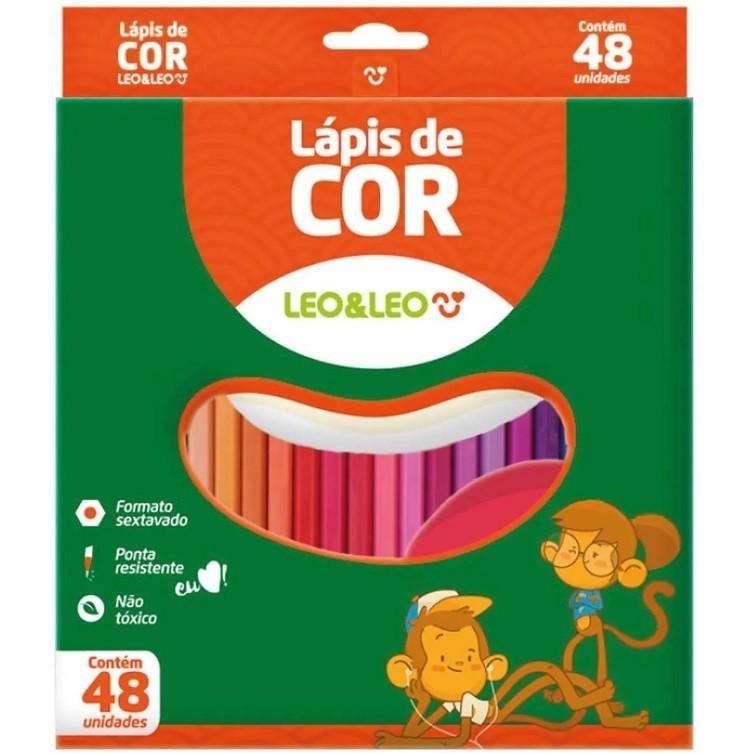 Lápis de Cor Sextavado 48 cores - Leo & Leo