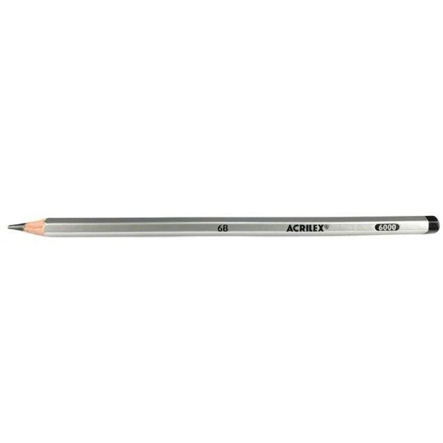 Lápis Preto 6B - Acrilex (12 Unidades)