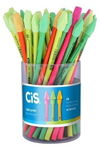 Lapis Preto Hb Neon com Borracha Colorido Cis (48 Unidades)