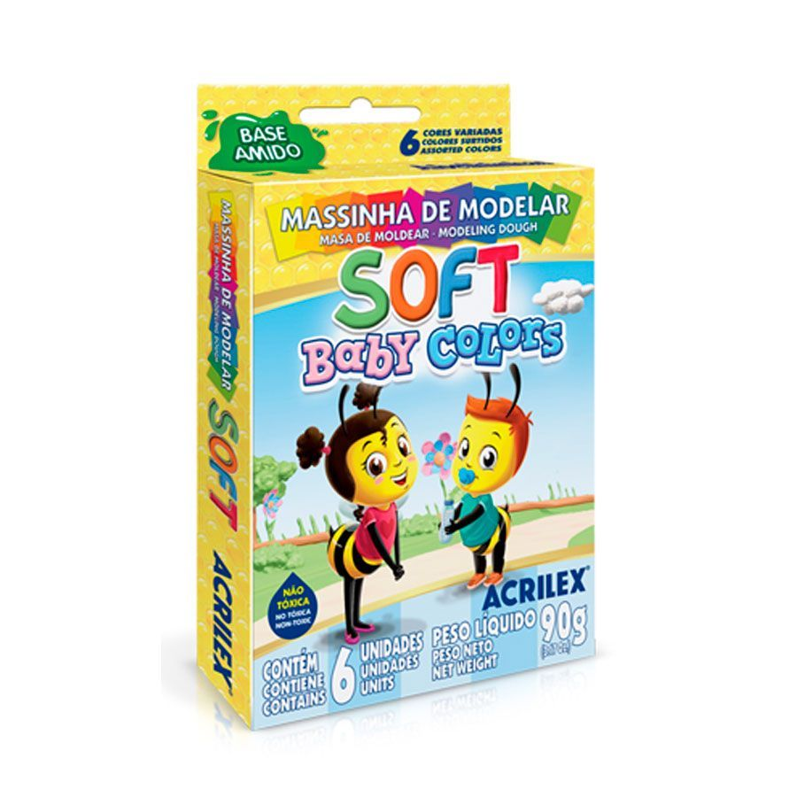 Massa para Modelar Soft Baby Colors 90g - 06 Cores - PT 06 - Acrilex