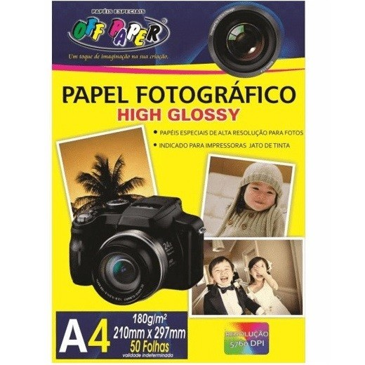 Papel Fotográfico A4 High Glossy 180g - Off Paper
