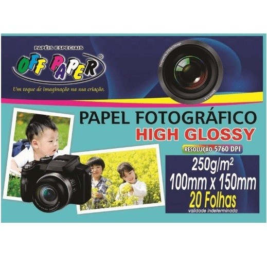 Papel Fotográfico Glossy 250g 10 - 15cm - Off Paper