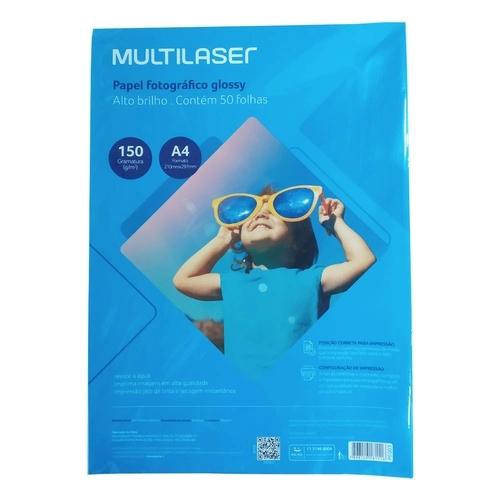Papel Fotográfico Glossy Paper Multilaser A4 150g BRANCO - PE003