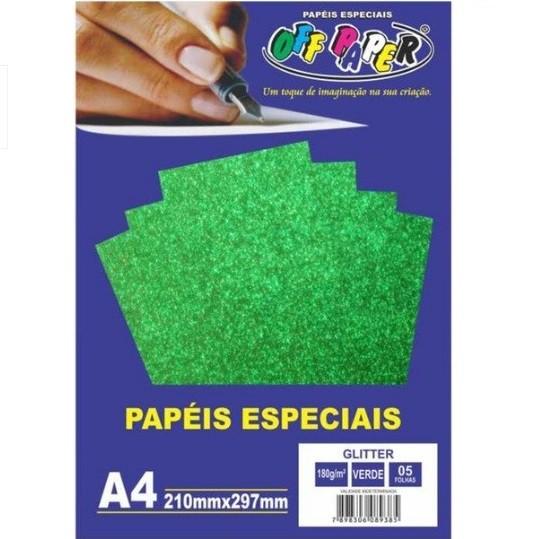 Papel Glitter A4 VERDE 180g - Off Paper
