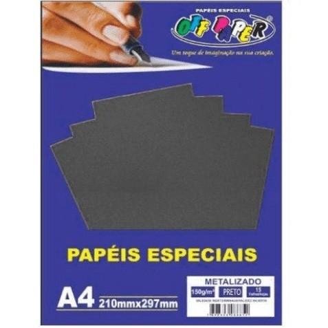 Papel Metalizado A4 PRETO 150g - Off Paper
