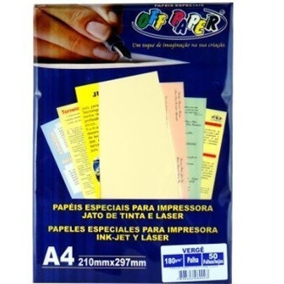 Papel Verge A4 PALHA 180g - Off Paper