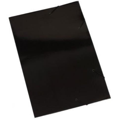 Pasta Cartão Duplex com Abas e Elástico PRETA - Polycart
