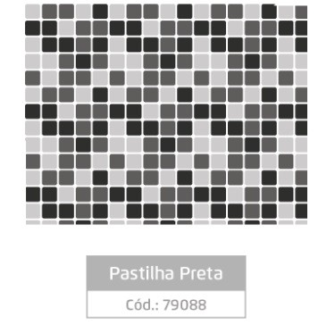 Plástico Adesivo 45cm x 10m PASTILHA PRETA - Jocar