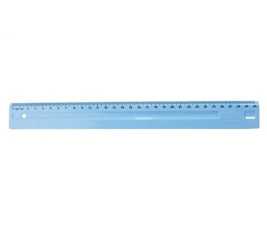 Régua Plástica 30cm AZUL PASTEL - Dello (10 Unidades)