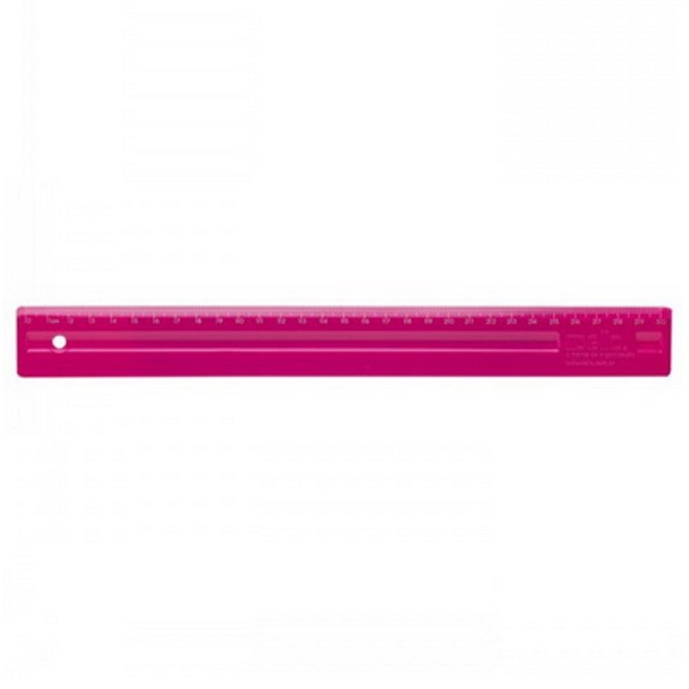 Régua Plástica 30cm ROSA PINK - Dello (10 Unidades)