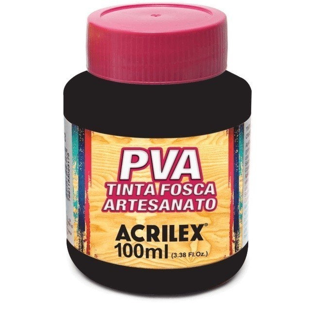 Tinta Fosca para Artes 100ml PRETO 520 - Acrilex