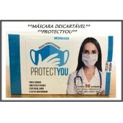 Máscara cirúrgica tripla Azul descartável c/ elástico e Anvisa c/ 50 unid PROTECTYOU