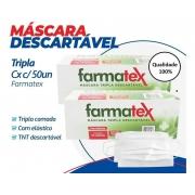 Máscara tripla descartável c/ 50 unidades Farmatex