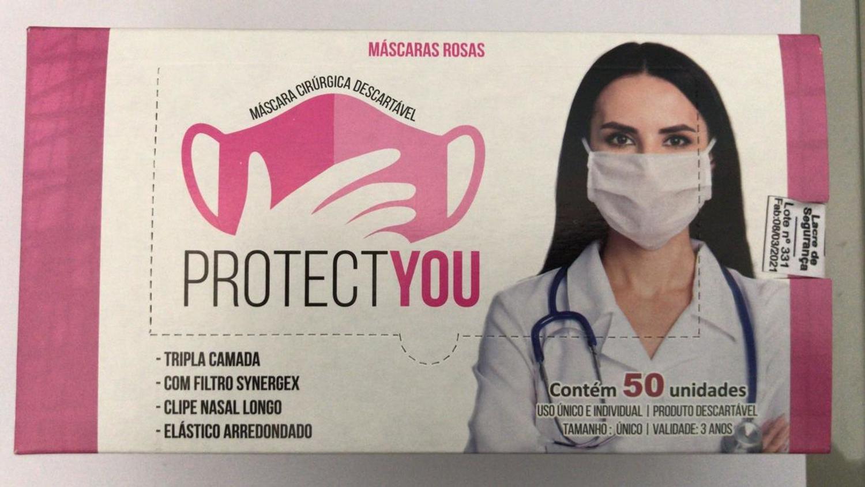 Máscara cirúrgica tripla rosa desc. c/ 50 und PROTECTYOU c/ Anvisa