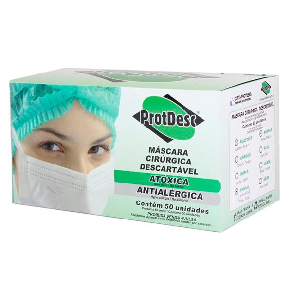 Máscara descartável tripla branca Protdesc c/ 50 unidades