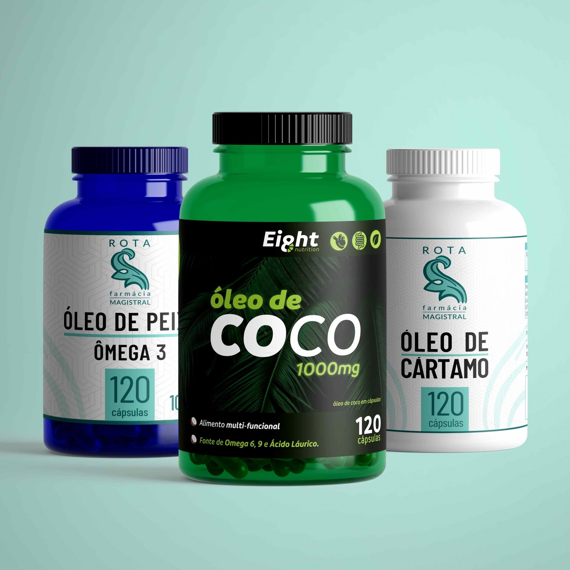 KIT - Óleo de Coco, Cártamo e Ômega 3 -120 cápsulas (cada)