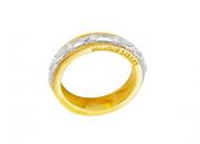 Aliança ouro amarelo, ouro branco 18k e brilhantes