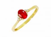 Anel coleção princess ouro amarelo 18k, rubi e brilhante