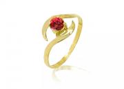 Anel em Ouro Amarelo e pedra Topázio Vermelho - Coleção Livy