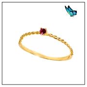 Anel Ouro Amarelo e zirc-cristalizada na cor rubi - Coleção Energia