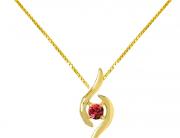 Colar em Ouro Amarelo e pedra Topázio Vermelho - Coleção Livy