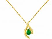 Colar em Ouro Amarelo Pedra Topázio Verde - Quartzo Verde