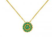 Colar Ouro Amarelo e Esmeralda - Coleção Sofia