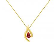 Colar Ouro Amarelo e Topázio Vermelho - Coleção Folium