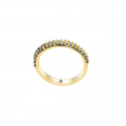 Meia Aliança Branco Cristal - Ouro Amarelo