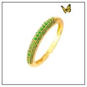 Meia Aliança Ouro Amarelo com pedras Esmeralda