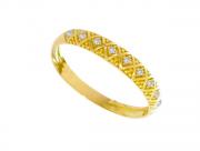 Meia Aliança Ouro Amarelo e Brilhantes