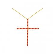 Pingente Cruz em Ouro Amarelo e Rubi