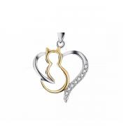 Pingente gato/coração em prata 925