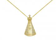 Pingente Ouro Amarelo e Brilhantes - Nossa Senhora Aparecida
