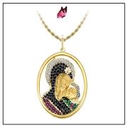 Pingente Ouro Amarelo, Safira, Brilhante, Esmeralda e Rubi - Nossa Senhora