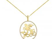 Pingente São Jorge em ouro amarelo e brilhantes