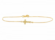 Pulseira Cruz em ouro amarelo c/ Brilhantes