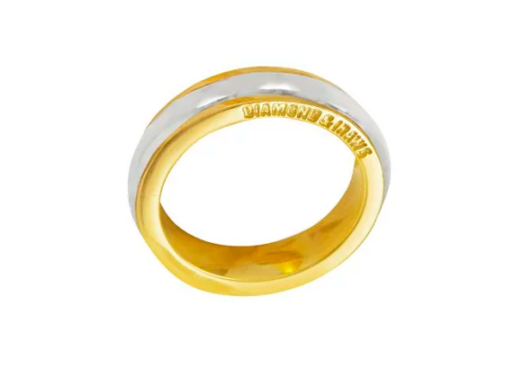 Aliança ouro amarelo e ouro branco 18k.