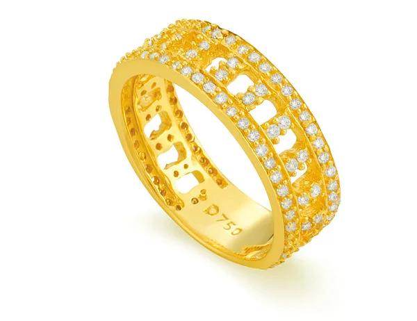 Aliança Ouro Amarelo Ouro e Brilhantes