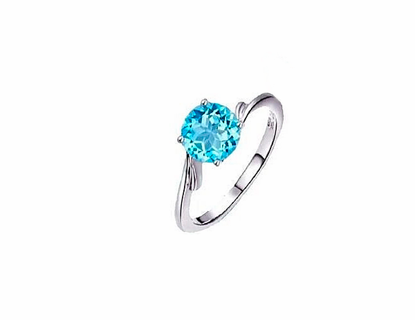 Anel de prata topázio azul