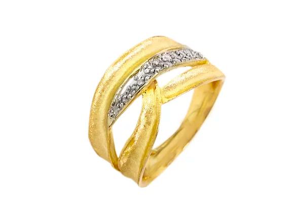 Anel em Ouro Amarelo e Brilhante - Coleção Ondas