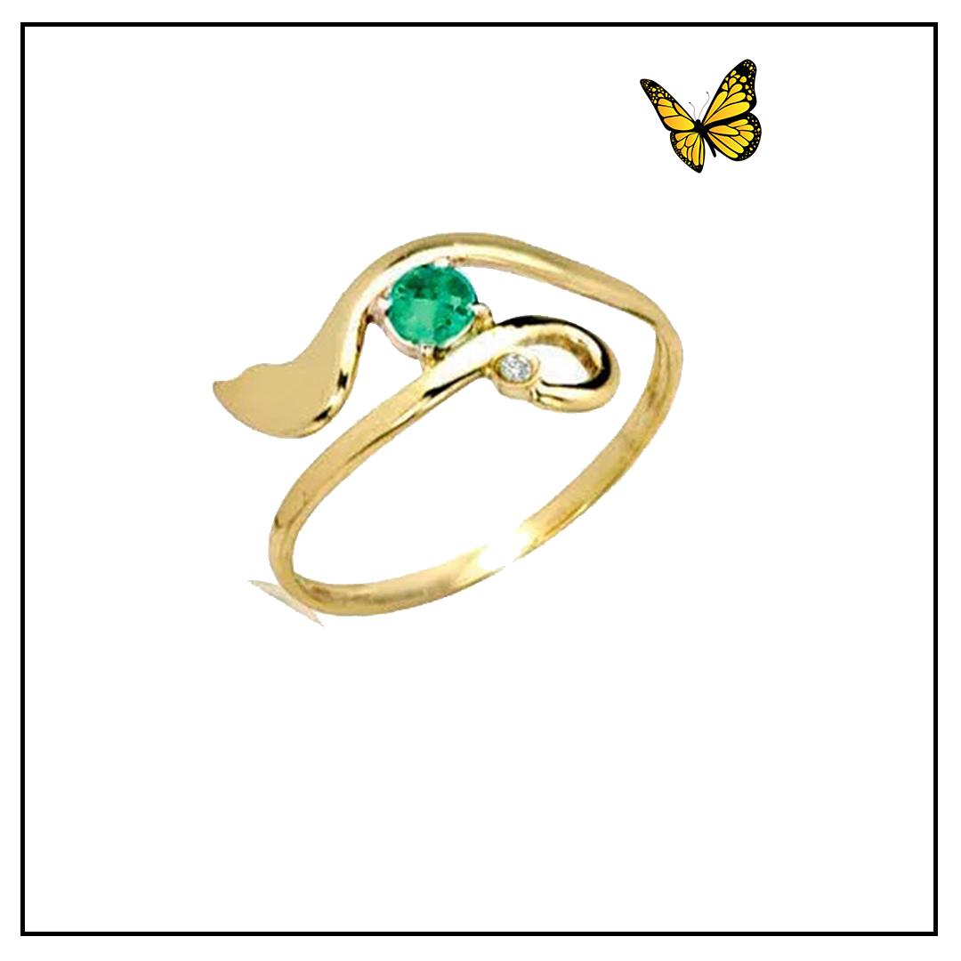 Anel em Ouro Amarelo e pedra Topázio Verde