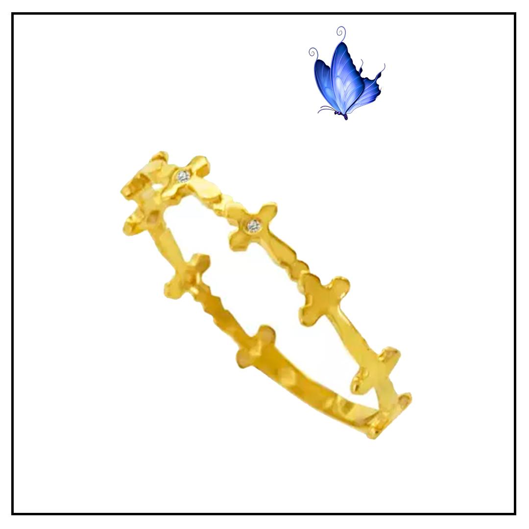 Anel Falange Cruzinhas Ouro amarelo