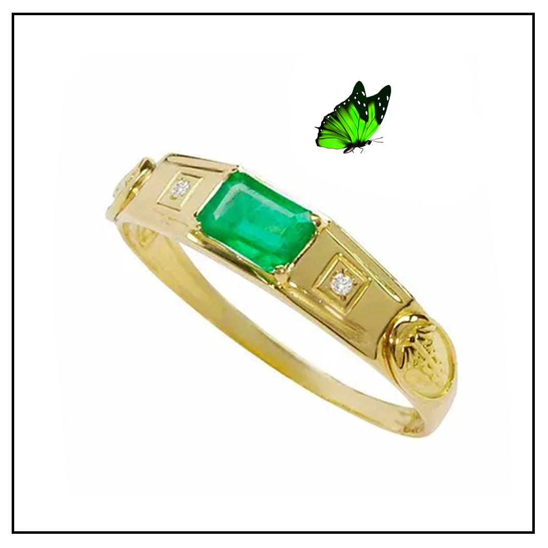 Anel Ouro Amarelo 18k e Esmeralda