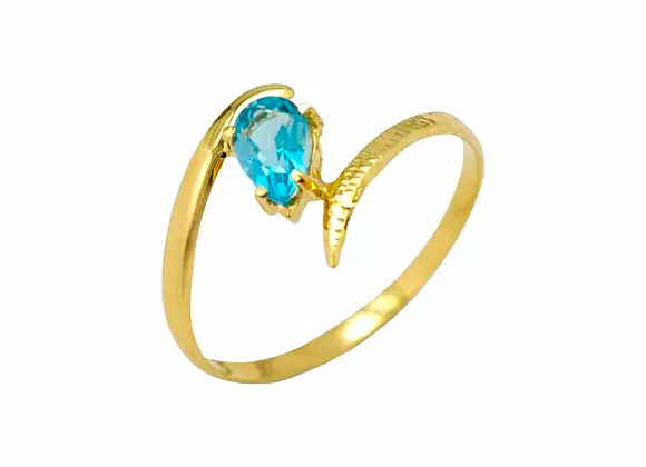 Anel ouro amarelo 18kts e pedra Topázio Azul - Coleção Folium